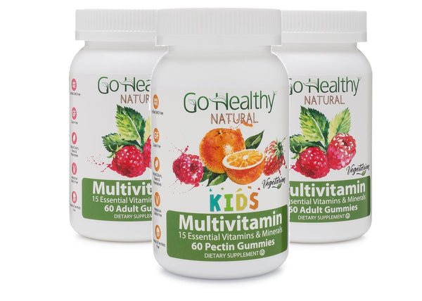 Multivitamin Gummies- Family 3-Pack: 2 Adult Multivitamin Bottles + 1 Kids Multivitamin Bottle
