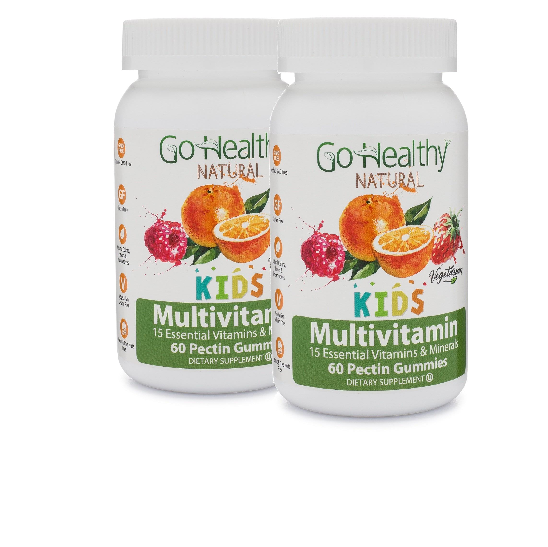 Multivitamin Gummies for Kids, Pectin-Based, Vegetarian Kosher 15 Vitamins- 2 Bottles (120)- 60 Daily Servings
