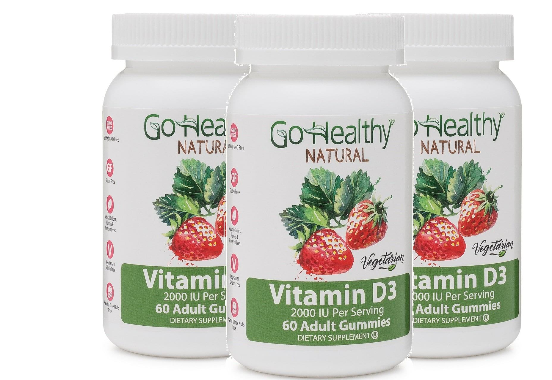 Vitamin D3 Gummies for Women and Men- Vegetarian - 2000 IU Per Serving- 3 Bottles (180 count)-60 Daily Servings