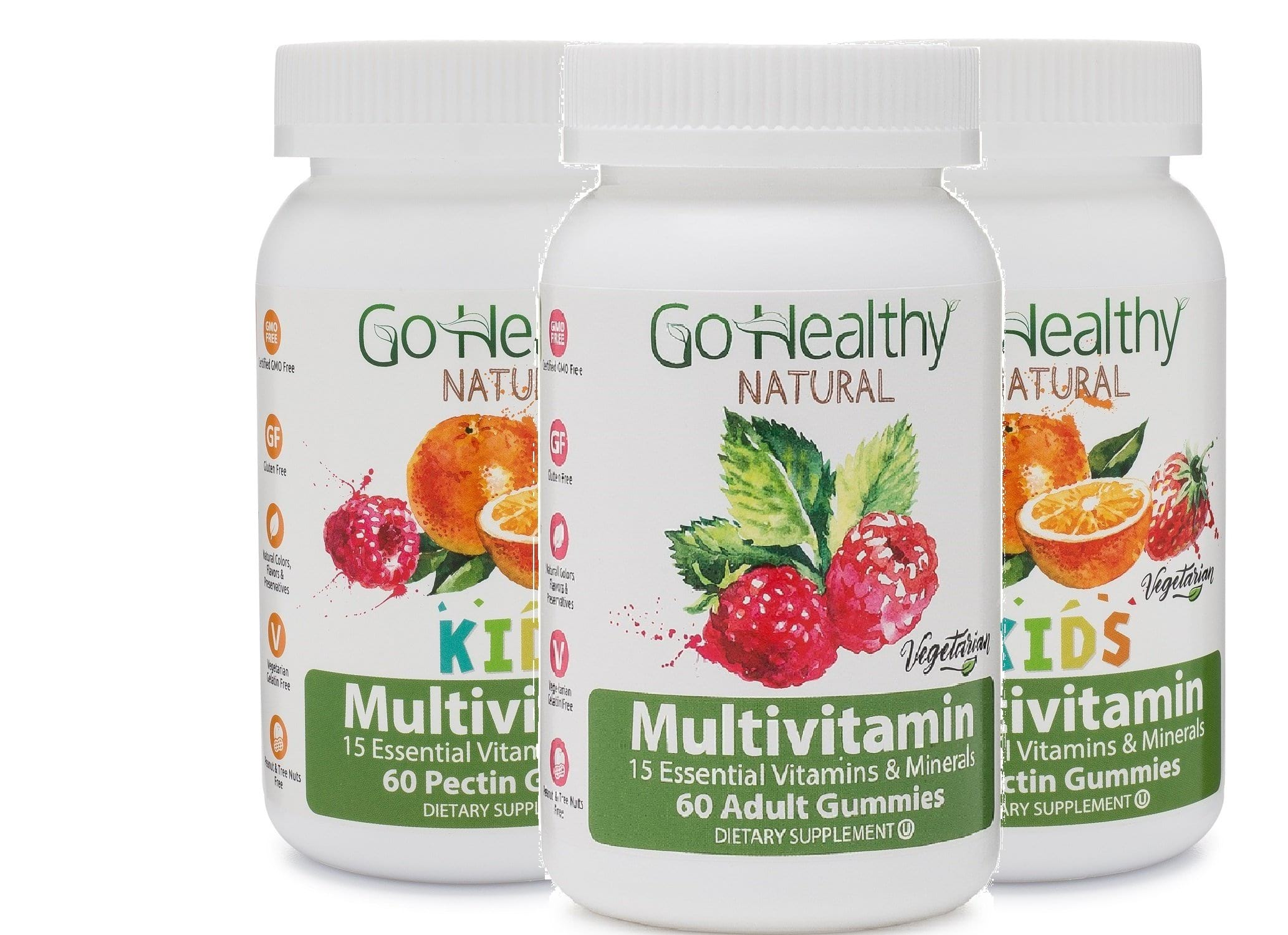 Multivitamin Gummies Family 3-Pack: 1 Adult Multivitamin Bottle + 2 Kids Multivitamin Bottles