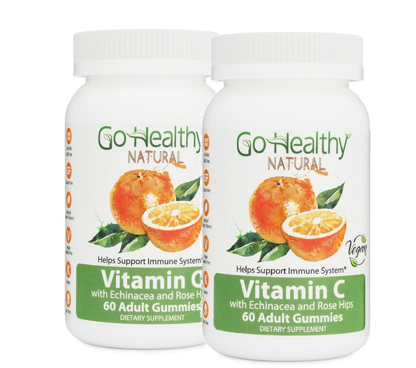 Vitamin C Gummy with Echinacea and Rose Hips, 2 Bottles Vegan, 240 mg Per Serving 120 ct- 60 Servings Gluten Free, Non-GMO, Halal, Kosher