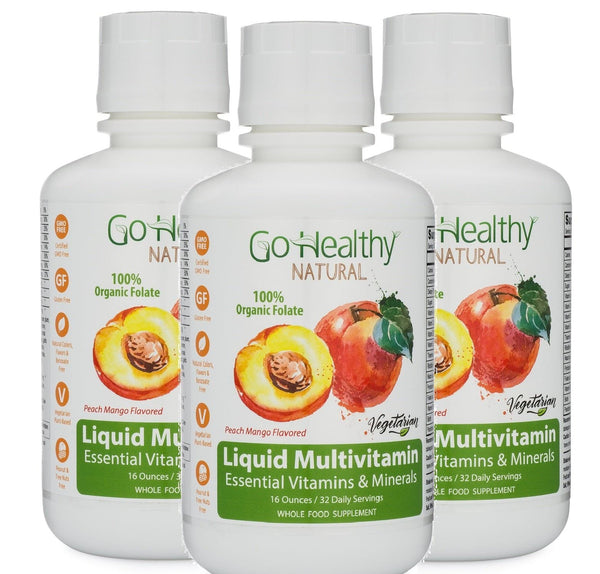 Multivitamin Liquid w/ Organic Lemon Peel Folate, Three (3) 16 oz Bottles - 96 Daily Servings.