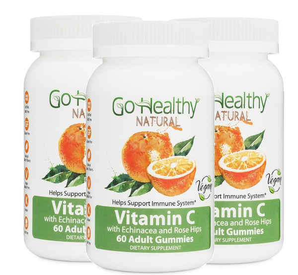 Vitamin C Gummy with Echinacea and Rose Hips, 3 Bottles Vegan, 240 mg Per Serving 180 ct- 90 Servings Gluten Free, Non-GMO, Halal, Kosher