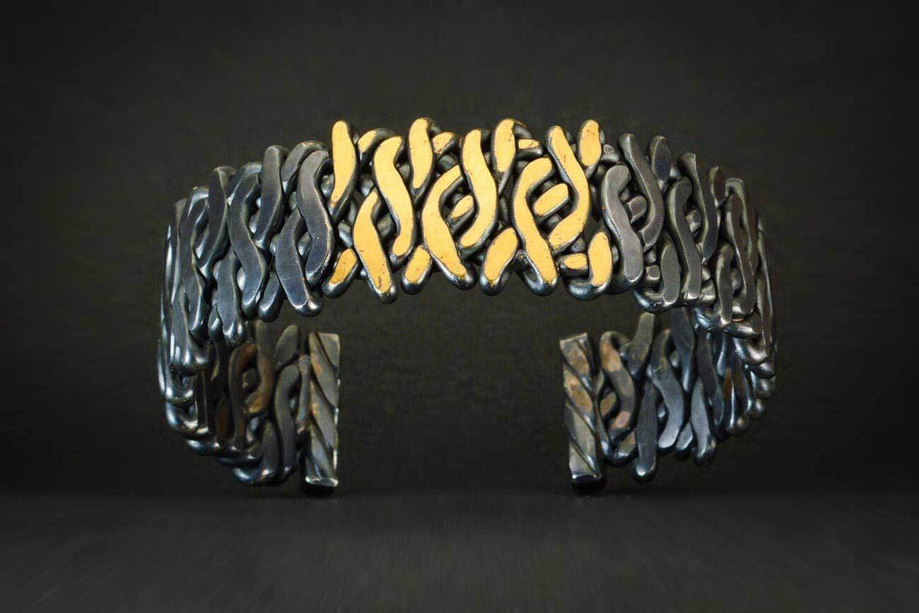 Black & Gold Woven Fire Cuff with White Diamonds