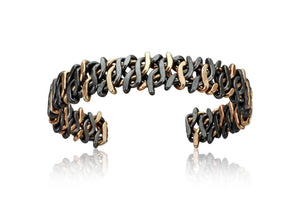Black Niobium and 14k Gold Razorwire