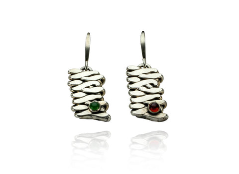 Jade & Garnet Cabochon Earrings