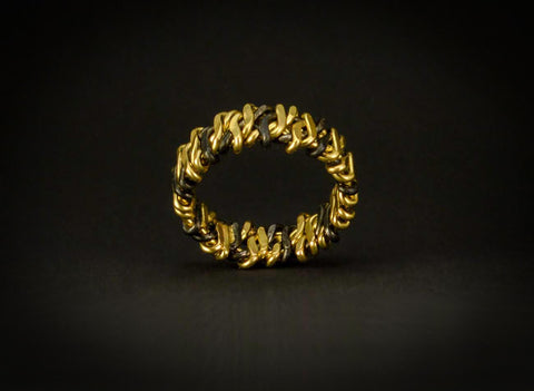 Woven Flame Ring in 18k & Niobium