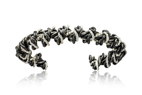 Twisted Sterling and Black Niobium Cuff
