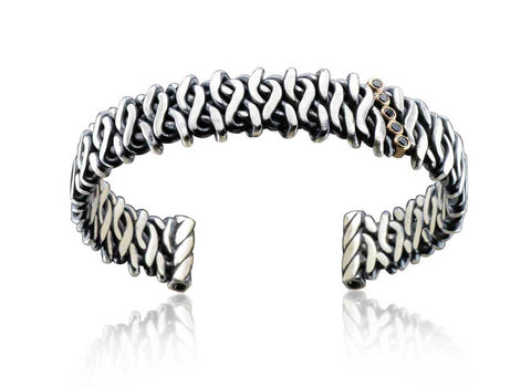 Woven Fire Cuff with Black Diamonds