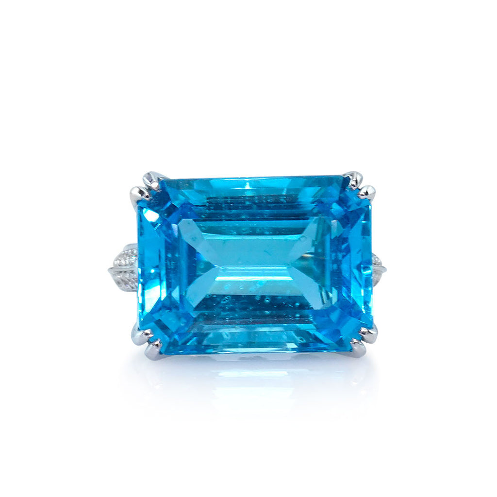 Blue Topaz Art Deco Ring with Diamond Accents San Diego