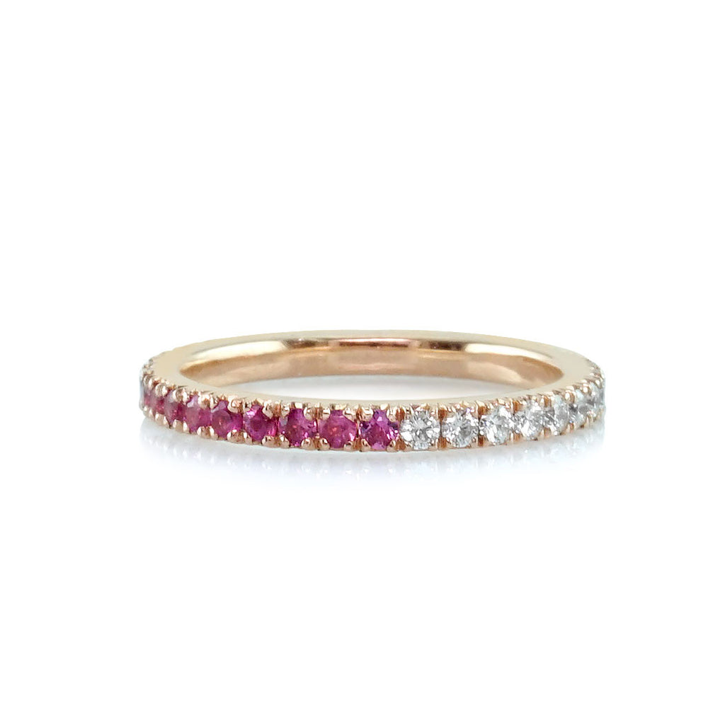 Ruby Diamond Rose Gold Eternity Wedding Band