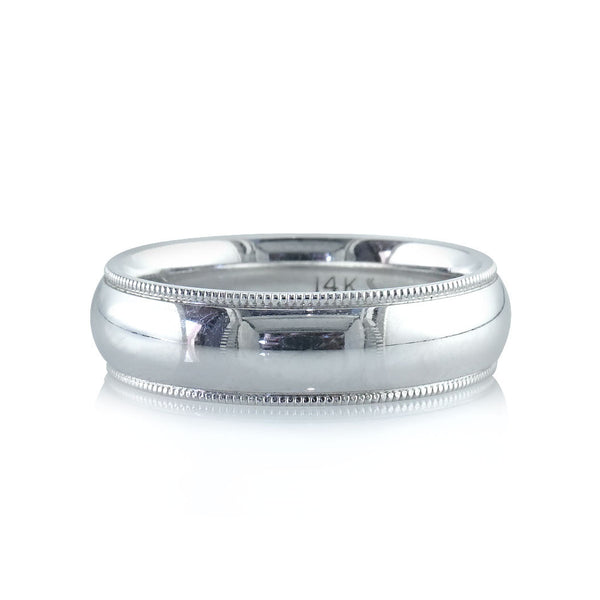 Milgrain Polished Comfort Fit Men's Wedding Band