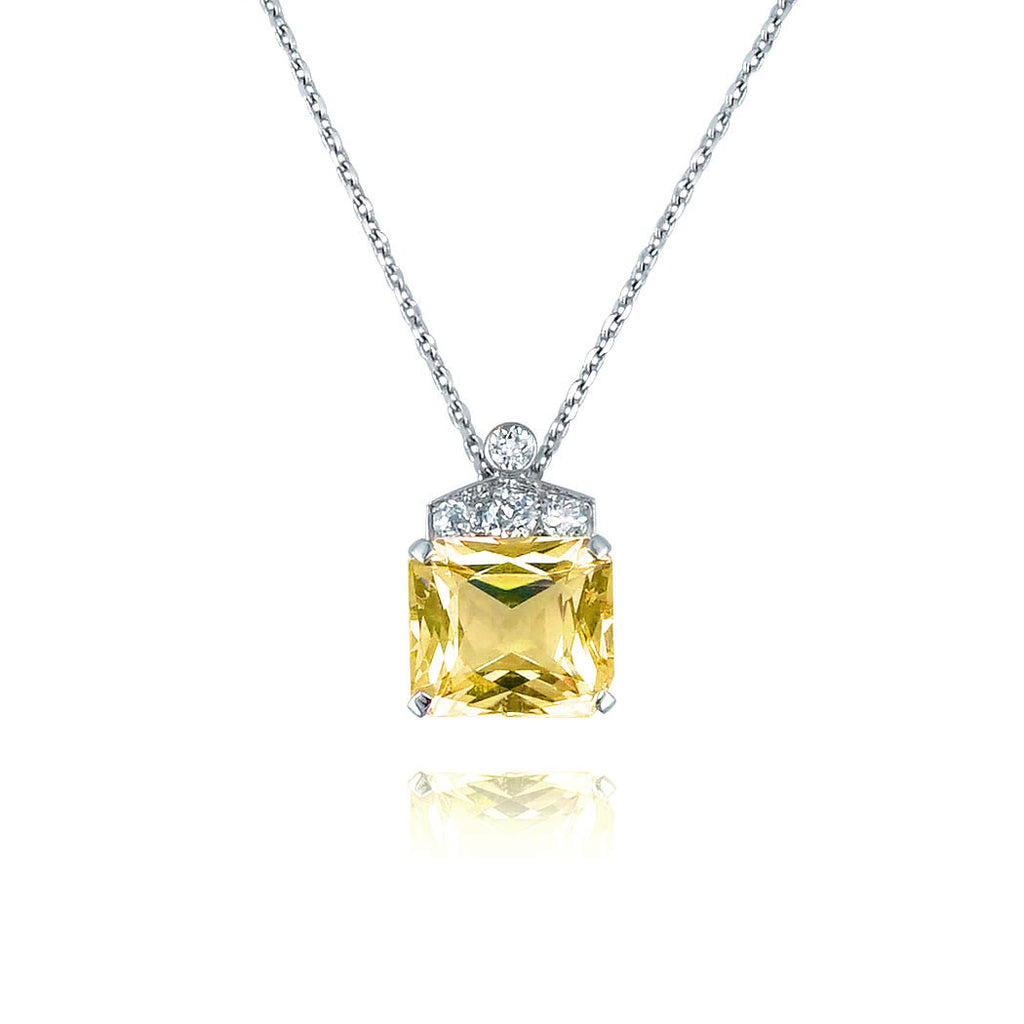 Art Deco Yellow Sapphire Necklace San Diego