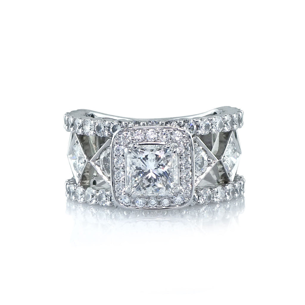 Broad Diamond Halo Ring