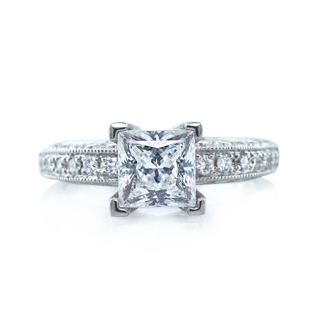 Vintage Milgrain Princess Cut Engagement Ring