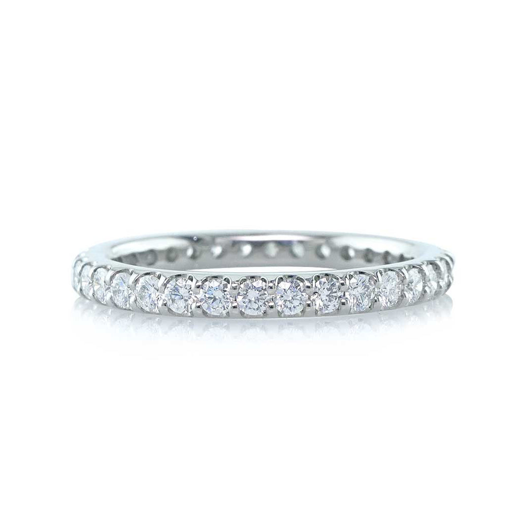 Round Diamond Eternity Wedding Band with a U-Shape Setting