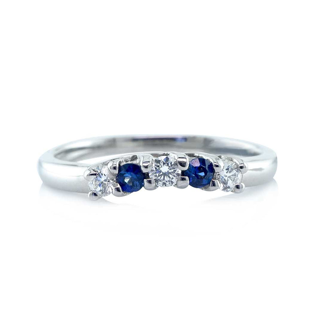 Blue Sapphire Diamond Shadow Wedding Band San Diego