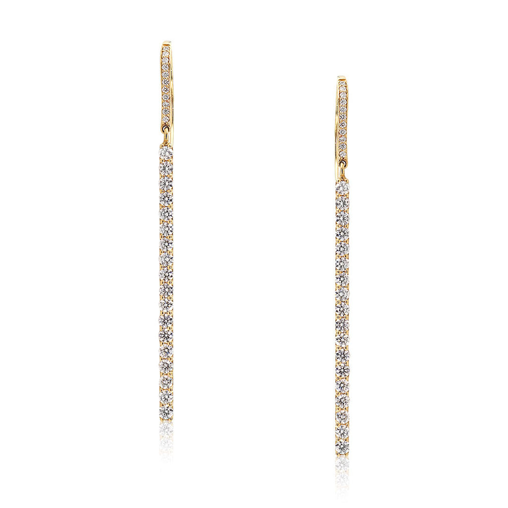 Diamond Rows Earrings in Yellow Gold