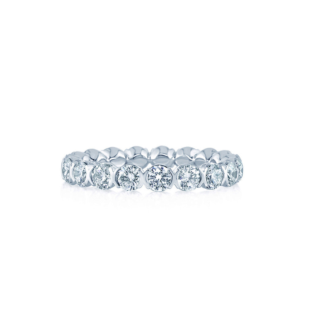 reg style narrow round edges bezel set milgrained bands eternity band diamond with