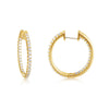 Round Hoop Diamond Earrings in Yellow Gold