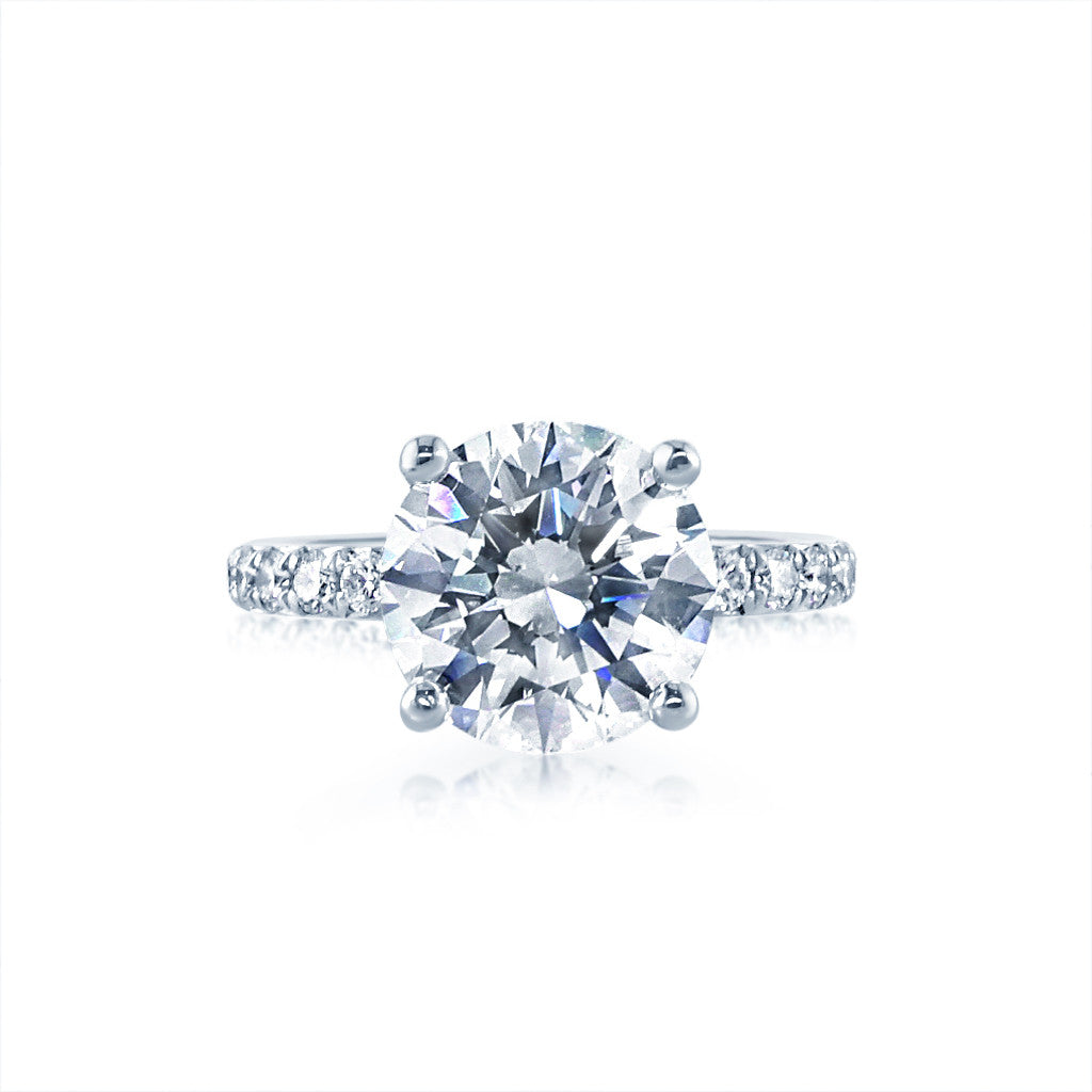 3 carat round diamond Engagement Ring with a French Cut Setting