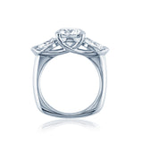 Pear Shaped Three Stone Diamond Enagement Ring with a Euro Shank