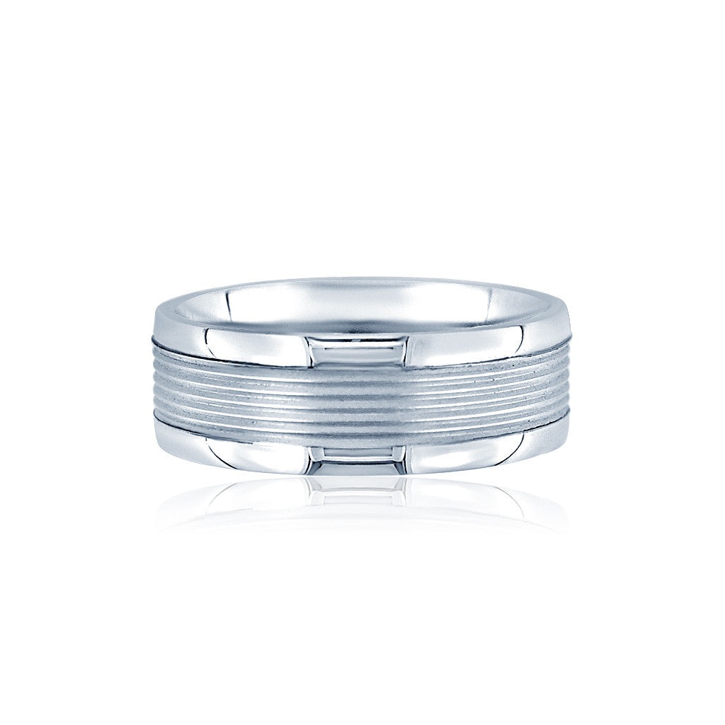 Ribbed Comfort Fit Men's Wedding Band