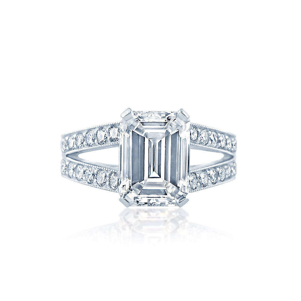Split Shank Emerald Cut Diamond Engagement Ring Faulhaber Diamond