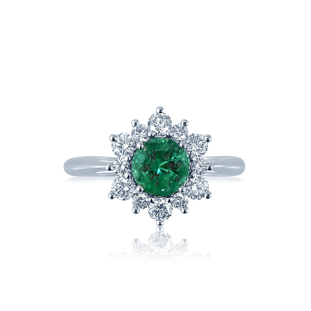 Emerald Diamond Starburst Engagement Ring San Diego