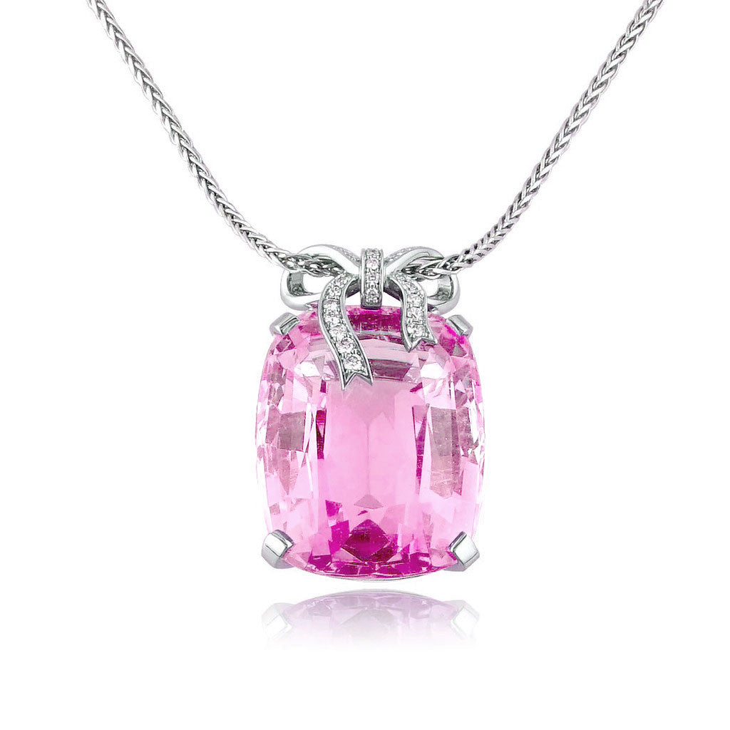 Pink Tourmaline Bow Necklace