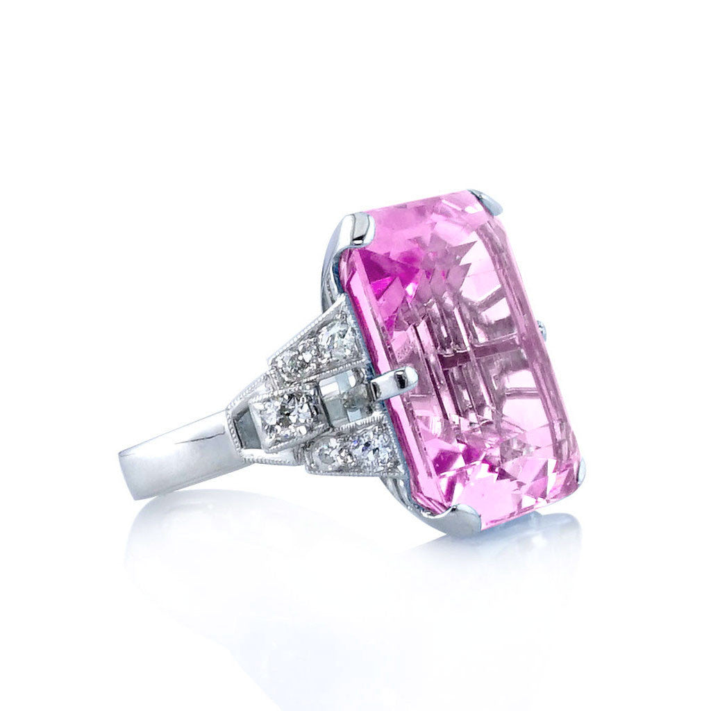 Pink Tourmaline Art Deco Ring with Diamond Accents