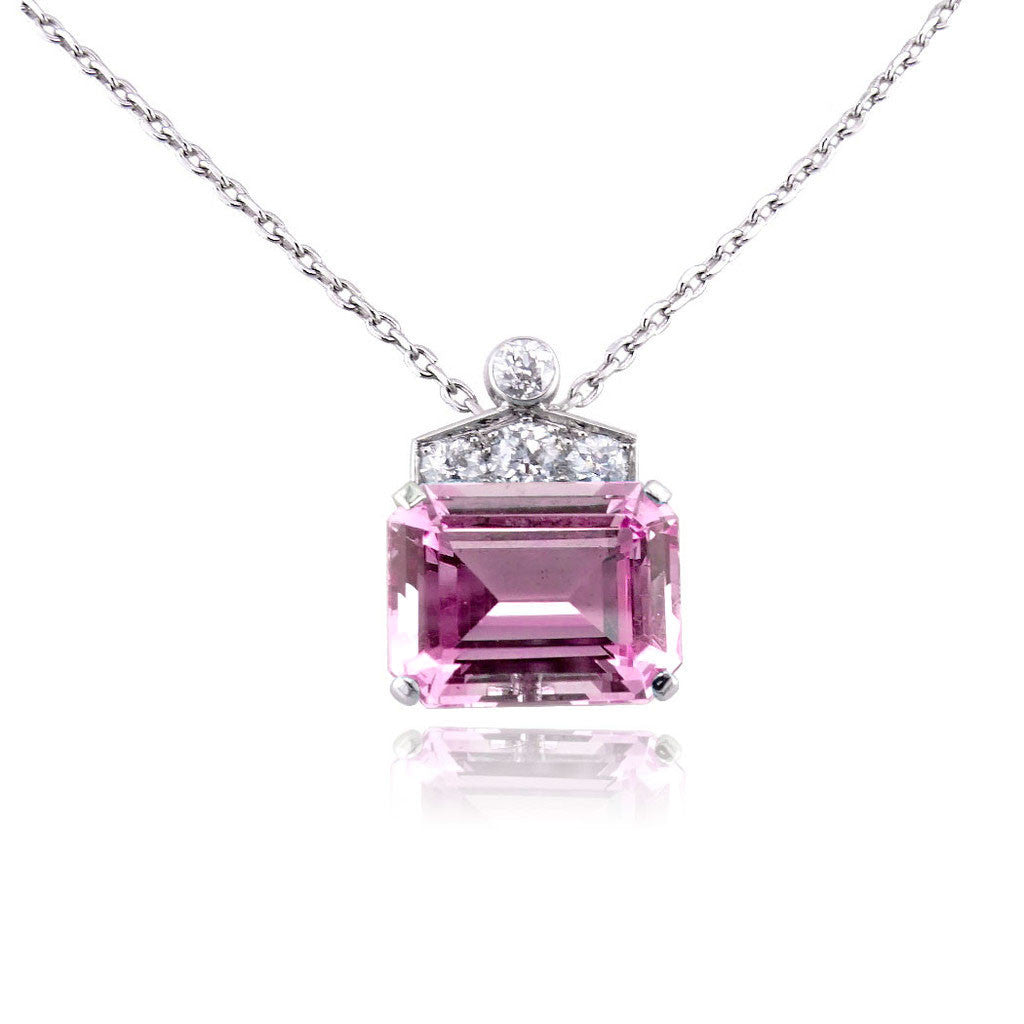 Art Deco Emerald Cut Pink Sapphire Necklace San Diego