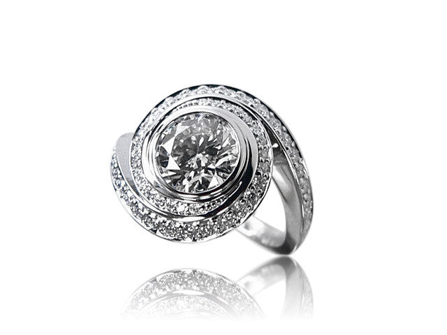 Swirl Halo Diamond Engagement Ring San Diego