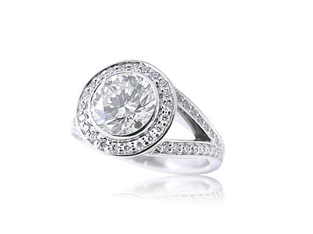 Round Halo Diamond Engagement Ring with A Split Shank San Diego