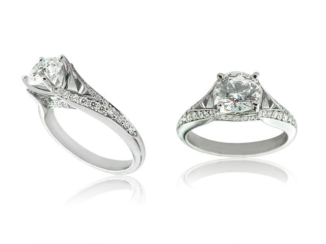Round Cut Diamond Engagement Ring with a Split Shank San Diego