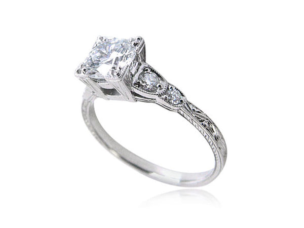 vintage round cut diamond engagement ring with filigree and milgrain - Wedding Rings San Diego