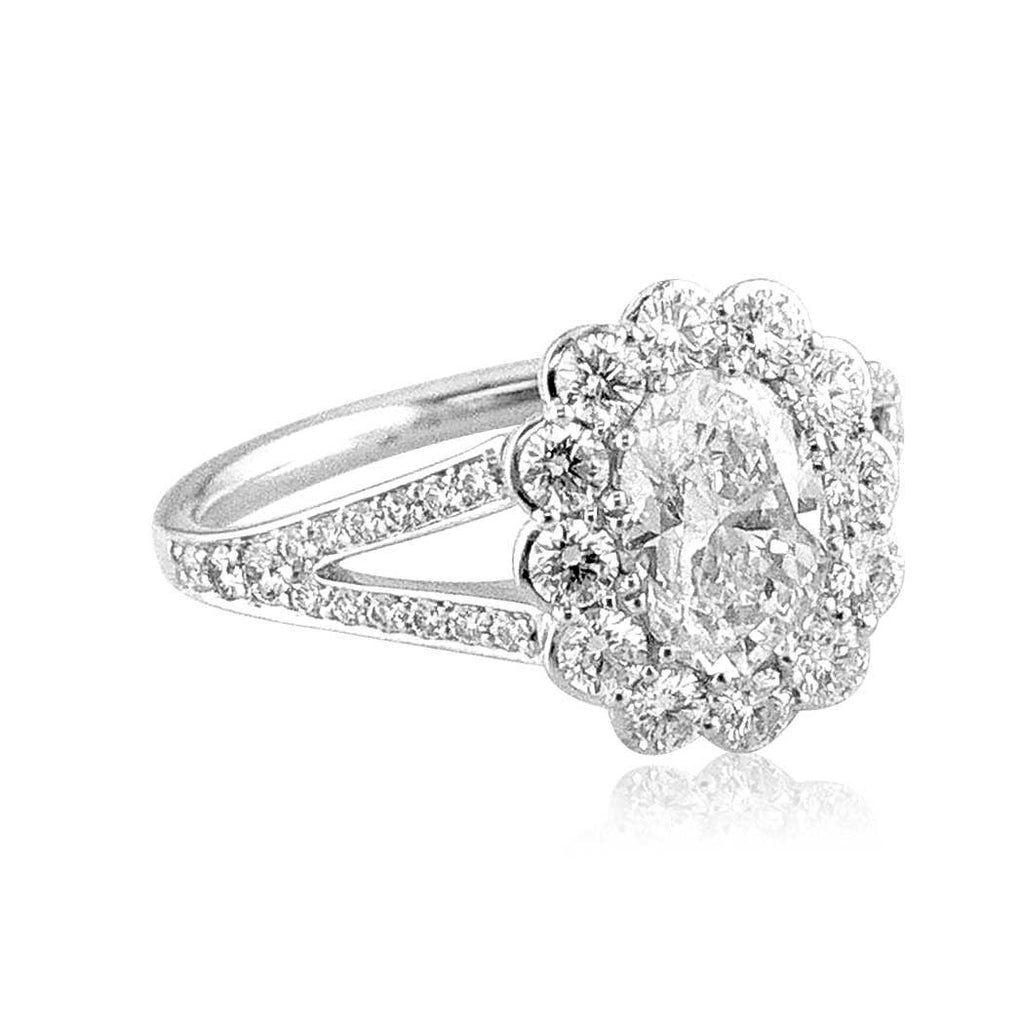 Faulhaber Oval Le Bouquet Engagement Ring with a Split Shank San Diego