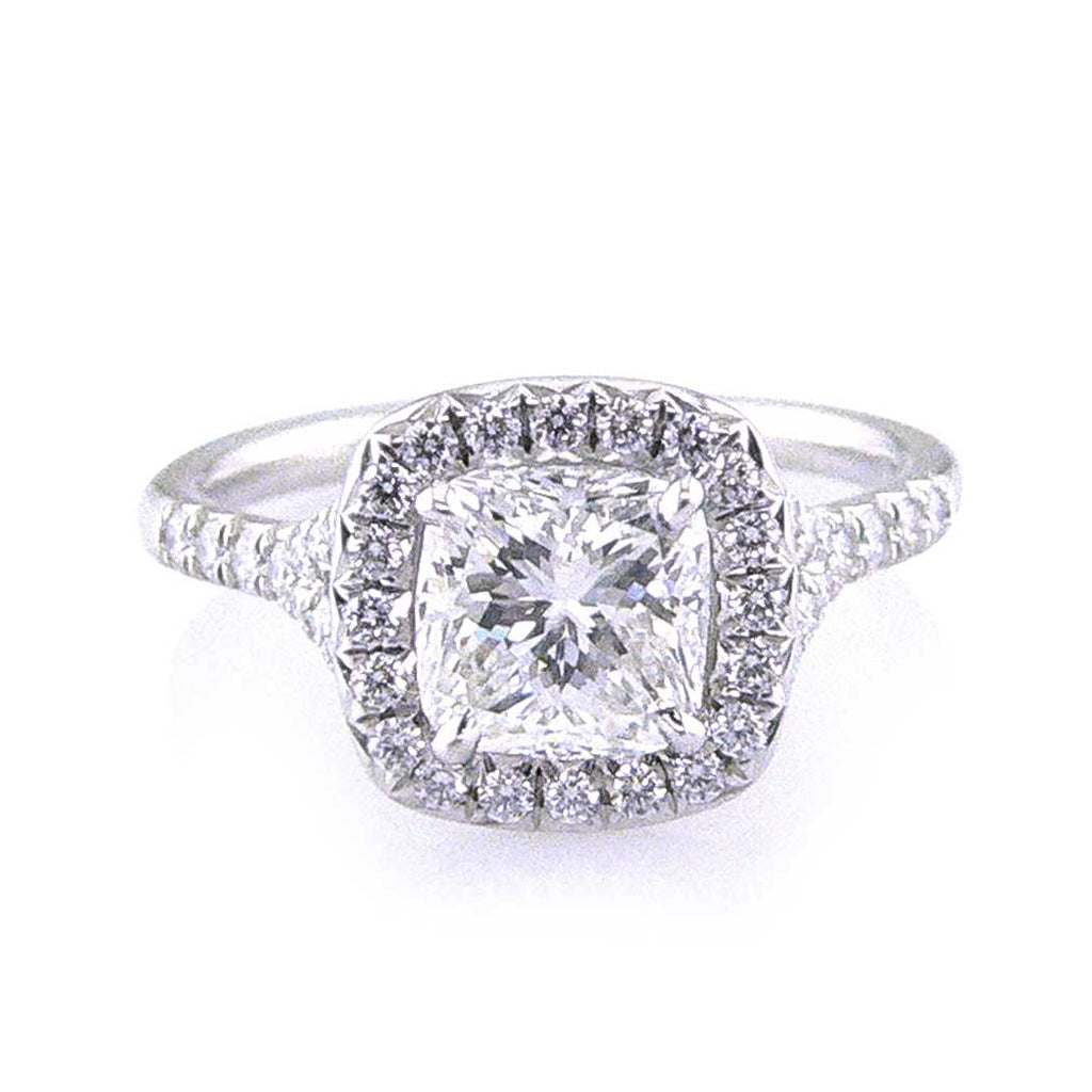 Diamond Halo Radiant Cut Engagement Ring San Diego