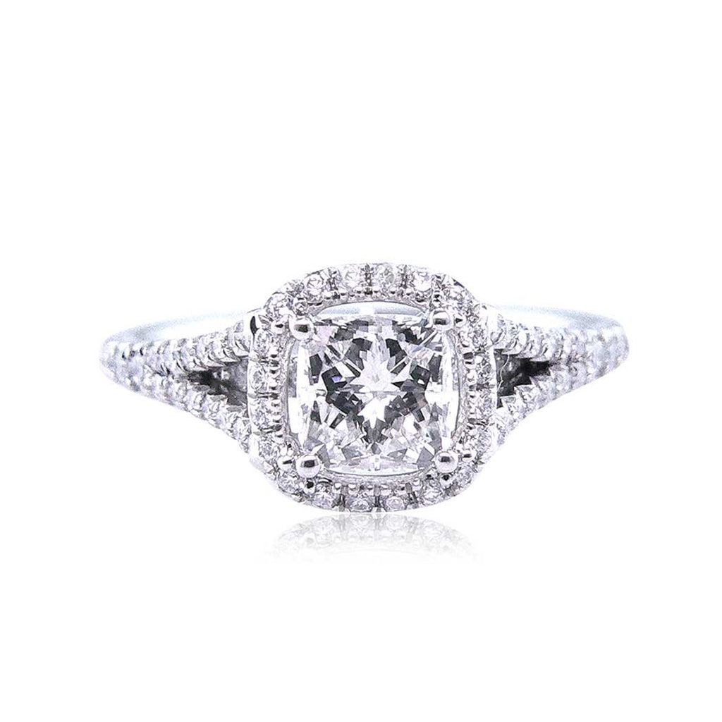 Diamond Halo Radiant Cut Engagement Ring with a Split Shank San Diego