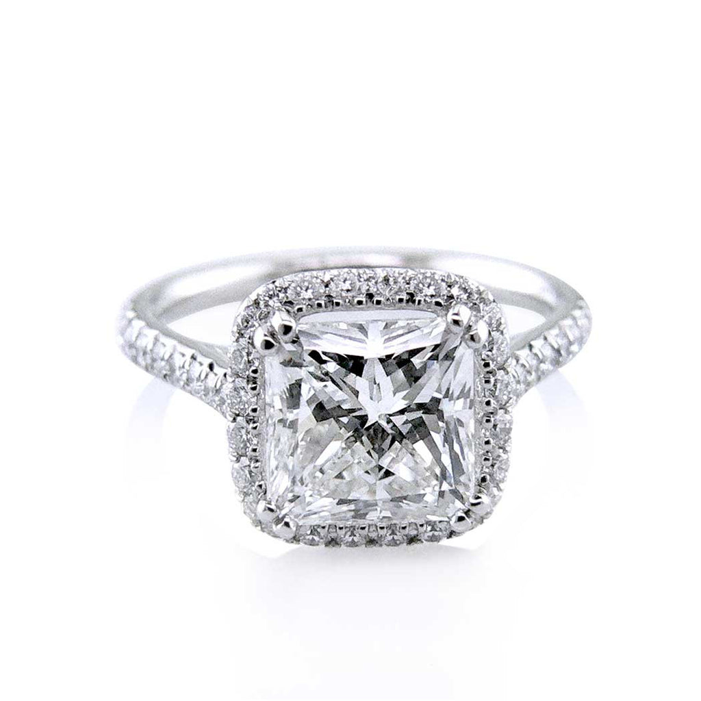 Double Prongs Diamond Halo Radiant Cut Engagement Ring San Diego