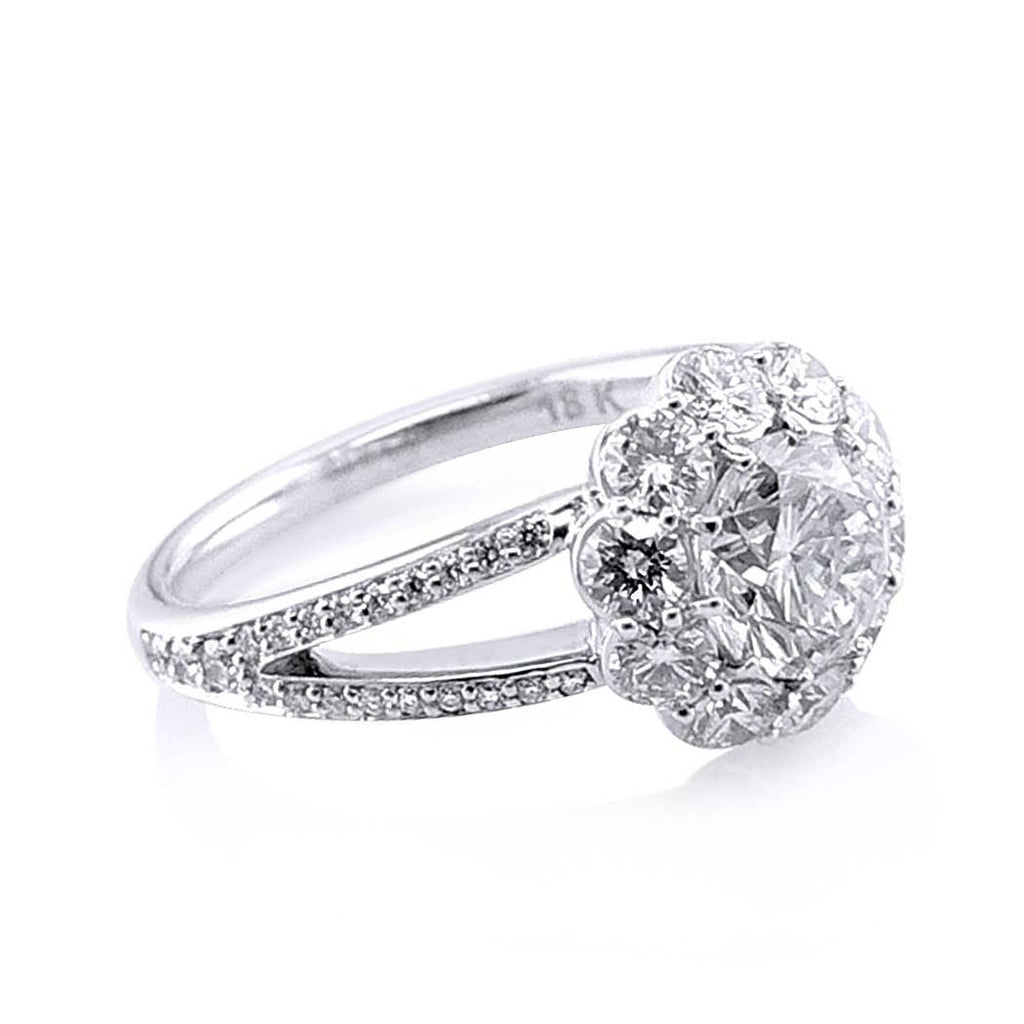 Faulhaber Round Le Bouquet Engagement Ring with a Split Shank San Diego