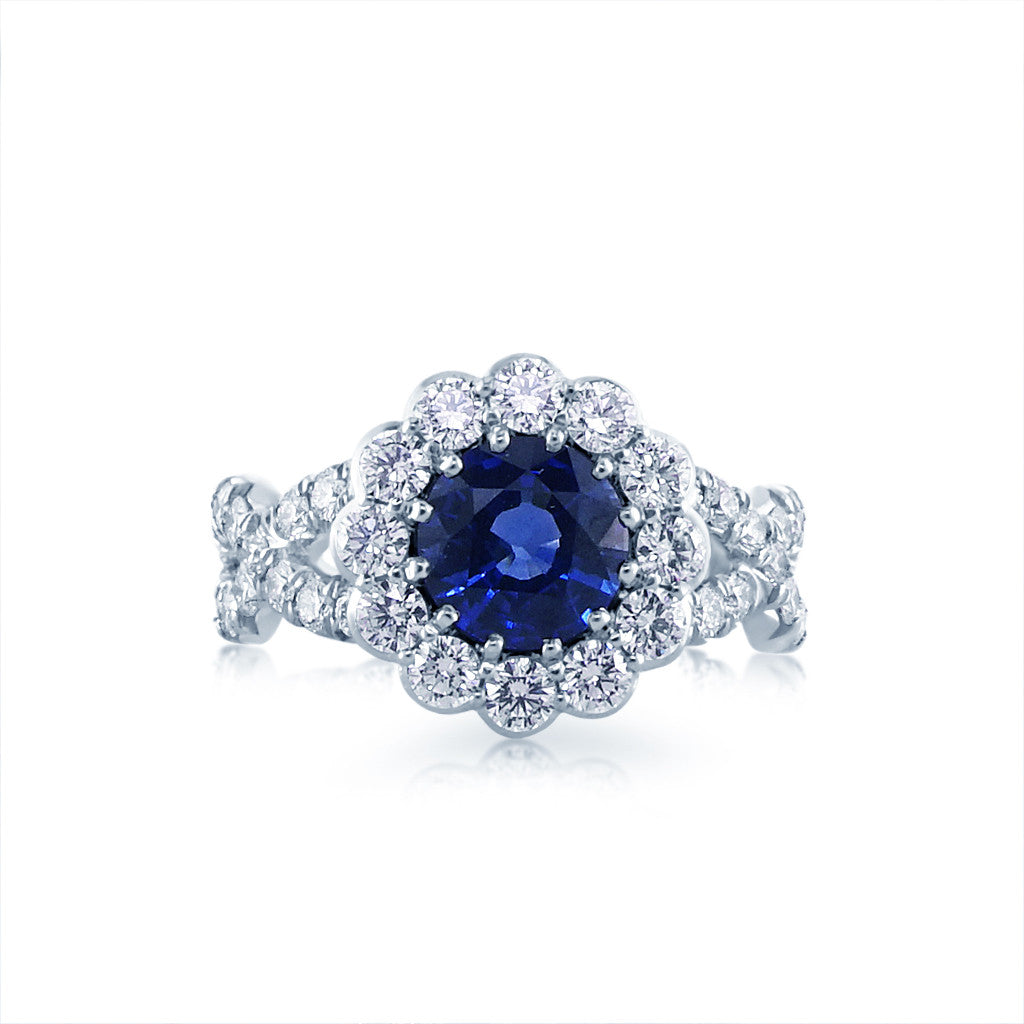 Faulhaber Le Bouquet Engagement Ring with a Criss Cross Shank and Round Blue Sapphire San Diego