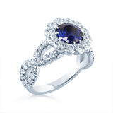 Faulhaber Le Bouquet Ring with a Cris Cross and Round Blue Sapphire San Diego