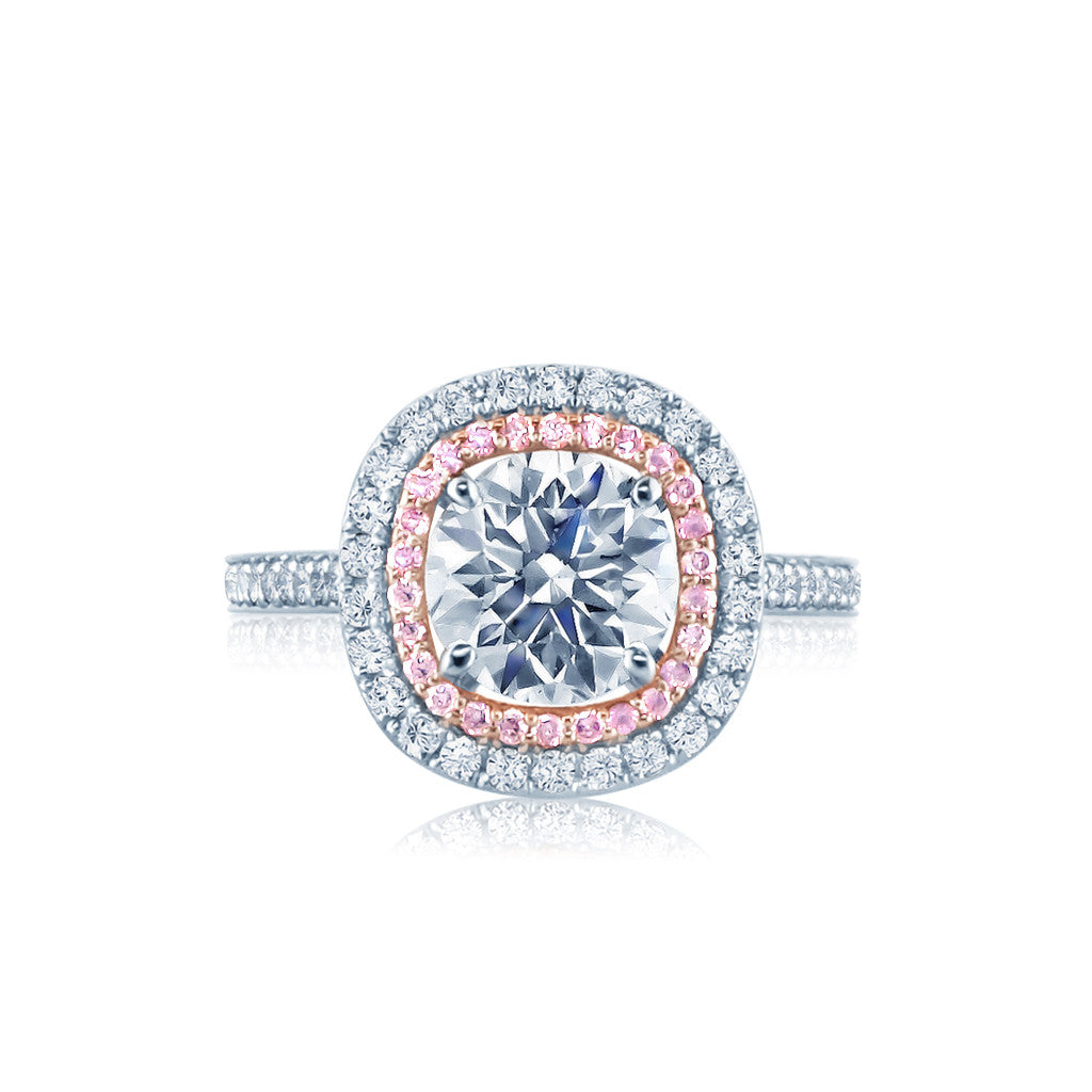 Double Halo Engagement Ring with Natural Pink Diamonds San Diego