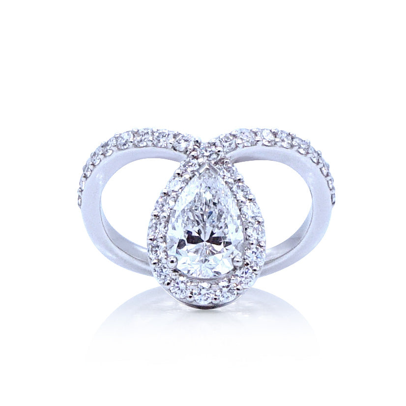 Pear Shaped Diamond Halo Engagement Ring Faulhaber Diamond Cutting