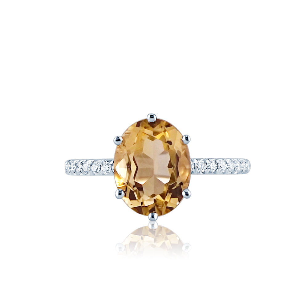 Oval Citrine French Setting Engagement Ring San Diego