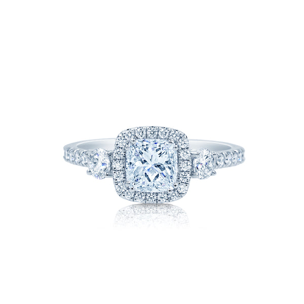 Three Stone Engagement Ring With Classic Cushion Cut and Halo San Diego