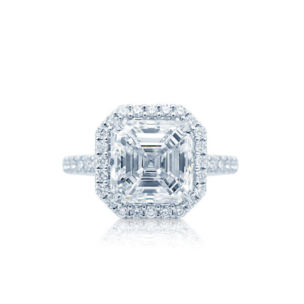 Asscher Diamond Halo Engagement Ring San Diego