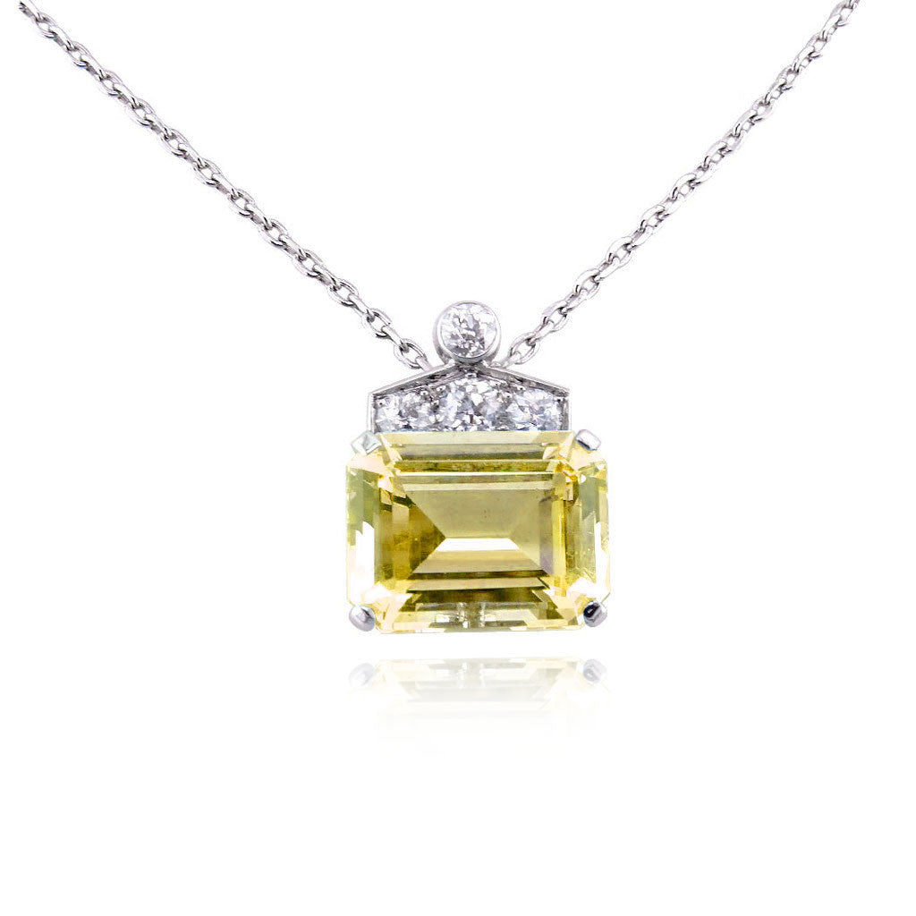 Art Deco Emerald Cut Yellow Sapphire Necklace San Diego