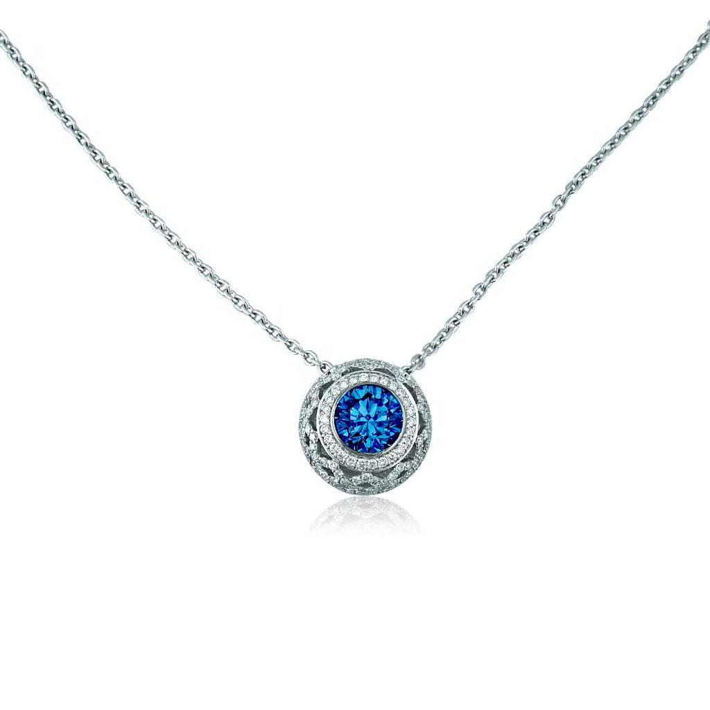 necklace simulated p v set cz sapphire bling width plated earring round rhodium jewelry blue